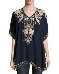 Johnny Was - Egypt Embroidered Eyelet Poncho - Lyst