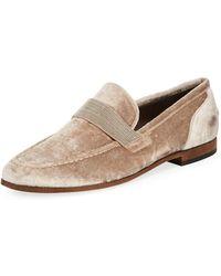 Brunello Cucinelli - Flat Metallic Velvet Loafer - Lyst