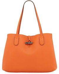 Longchamp - Roseau Essential Medium Leather Shoulder Tote Bag - Lyst 7f97fff1715c7