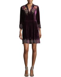 Johnny Was - Flores 3/4-sleeve Boho Velvet Dress W/ Floral Embroidery Petite - Lyst