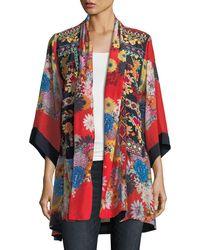 Johnny Was - Mishka Rose Embroidered Silk Kimono - Lyst