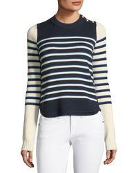 Veronica Beard - Amos Striped Merino Button Sweater - Lyst
