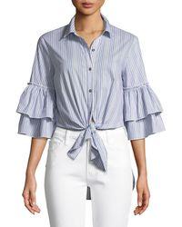 Ella Moss - Ruffle-sleeve Striped Tie-front Cotton-blend Blouse - Lyst