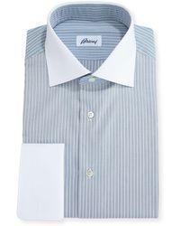 Brioni - Striped Dress Shirt With Contrast Collar & Cuffs - Lyst