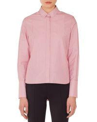 Akris Punto - Detachable-collar Long-sleeve Striped Cotton Blouse - Lyst