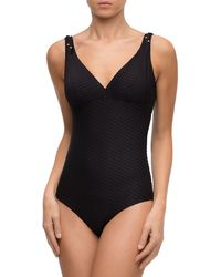 Lise Charmel - Chic Tressage Non-wire V-neck Textured One-piece Swimsuit - Lyst