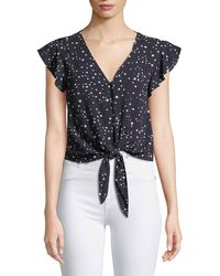 Cupcakes And Cashmere - Bellfield Tie-front Dot-print Top - Lyst