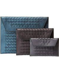 3263f60641c Lyst - Bottega Veneta Three-in-one Nesting Woven Leather Pouch Bags ...