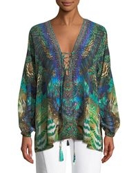 Camilla - Printed Silk Long-sleeve Lace-up Blouse - Lyst