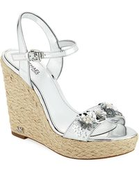 MICHAEL Michael Kors - Jill Metallic Leather Espadrille Wedge Sandal With Sequined Flower - Lyst