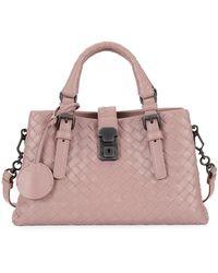 Bottega Veneta - Roma Small Woven Leather Satchel Bag - Lyst