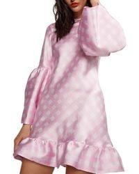 Cynthia Rowley - Jane Gingham Bell-sleeve Short Ruffle Dress - Lyst
