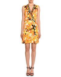 Emilio Pucci - Sleeveless Surplice-neck Hydrangea-print A-line Dress - Lyst