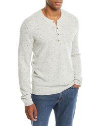 Neiman Marcus - Men's Crewneck Speckled Cashmere Henley Sweater - Lyst