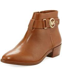 MICHAEL Michael Kors - Harland Vachetta Leather Logo Bootie - Lyst
