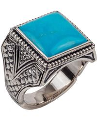 Konstantino - Men's Sterling Silver & Turquoise Signet Ring - Lyst