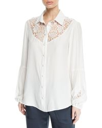 Nanette Lepore - Peace And Love Long-sleeve Blouse W/ Lace - Lyst