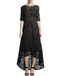 Teri Jon - Elbow-sleeve High-low Lace 3-d Velvet Floral Cocktail Dress - Lyst