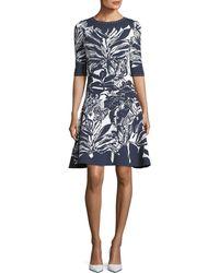 Oscar de la Renta - Half-sleeve Fit-and-flare Printed Short Dress - Lyst