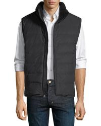 Andrew Marc - Saranac Quilted Vest W/ Faux-shearling Trim - Lyst