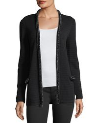 Emporio Armani - Hook-front Striped-knit Cardigan With Embellished Trim - Lyst
