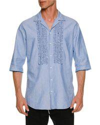 DSquared² - Oxford Relaxed Shirt W/ Ruffled Bib - Lyst