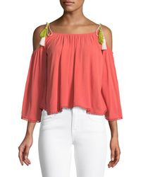 Cupcakes And Cashmere - Bettie Cold-shoulder Tassel Tie Blouse - Lyst
