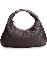 Bottega Veneta - Veneta Intrecciato Large Hobo Bag Dark Brown - Lyst