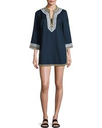 Tory Burch - Embroidered 3/4-sleeve Cotton Coverup Tunic - Lyst