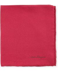 Ferragamo   Solid Silk Twill Pocket Square   Lyst