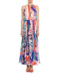 a17da3f284be4 Emilio Pucci - High-neck Sapphire Silk Maxi Dress - Lyst