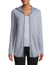 Neiman Marcus - Cashmere Zip-front Striped Hoodie Sweater - Lyst