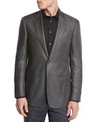 Giorgio Armani - Chevron Jacquard Silk-wool Two-button Sport Coat - Lyst