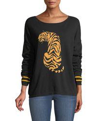 Joan Vass - Boat-neck Long-sleeve Sequin-striped Tiger-intarsia Sweater - Lyst