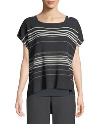Eileen Fisher - Striped Short-sleeve Poncho Top - Lyst