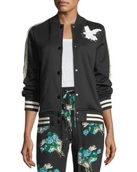 RED Valentino | Jersey Bomber Jacket W/ Bird Embroidery | Lyst