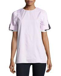 N°21 - Nayeli Striped Poplin Blouse W/ Embellished Sleeves - Lyst