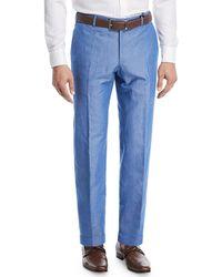 Zanella - Cotton/linen Slub Trouser Pants - Lyst