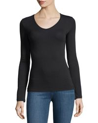 Neiman Marcus - Soft Touch Long-sleeve V-neck Tee - Lyst