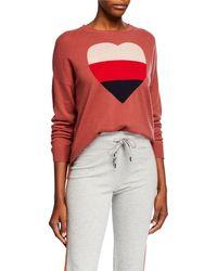 Sundry - Heart Crewneck Long-sleeve Wool-blend Sweater - Lyst