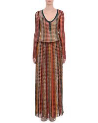 Missoni - Scoop-neck Long-sleeve Multicolor Mesh Long Dress - Lyst