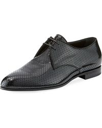 Saint Laurent - Smoking Perforated Patent Leather Derby Shoe - Lyst