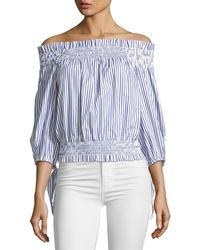 Caroline Constas - Lou Off-the-shoulder Striped Crop Top - Lyst