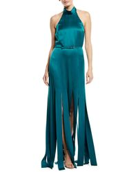 Escada Halter Neck Sleeveless Silk Satin Evening Gown W Car Wash Hem