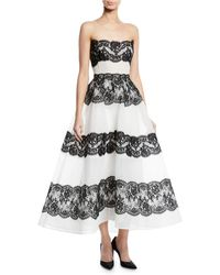 2c9cde0e Monique Lhuillier - Corseted Strapless Tea-length Gown With Lace Insets -  Lyst