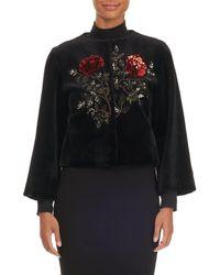 Oscar de la Renta - Rose-sequined Mink Fur Bolero Jacket - Lyst