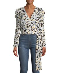 79fc1a2ff94363 A.L.C. - Tessa Printed Silk Long-sleeve Wrap Top - Lyst