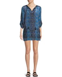 Tolani - Kiki Tassel-neck 3/4-sleeve Shibori-print Tunic Dress - Lyst