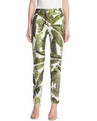Oscar de la Renta - Palm-print Skinny Pants - Lyst
