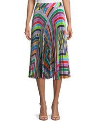 MILLY - Rainbow Stripe Pleated Skirt - Lyst